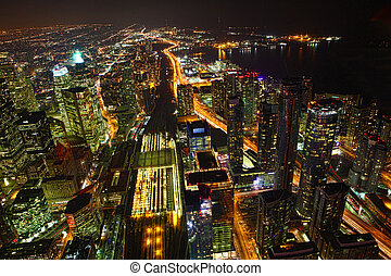 Aerial of Toronto, Canada at night - An aerial view of...