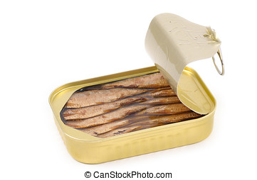 Canned Sardines isolated on white