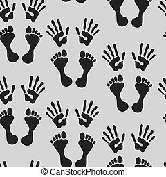 Seamless pattern with  footprints