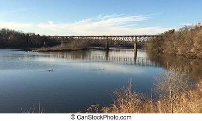 The Grand River at Cambridge, Ontario, Canada