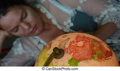 Woman search travel destination - Young woman search for a...