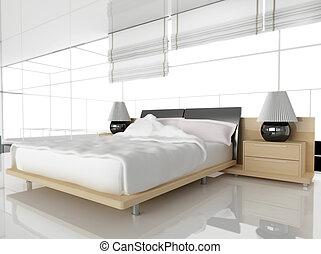 Modern bedroom in white 3d image