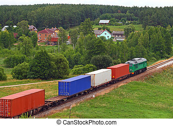 Landscape with the train and a village - Rural landscape...