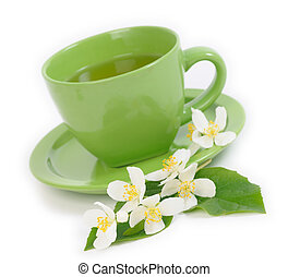 Green Tea with Jasmine flowers Shallow DOF - Green Tea with...