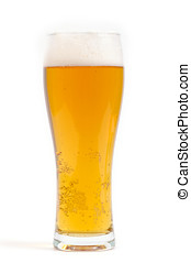 Beer glass isolated on white - Glass of light beer isolated...
