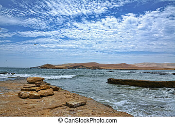 Paracas National Reserve, Peru - Paracas Coastline in a...