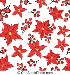 Christmas seamless pattern - Christmas Poinsettia flowers,...