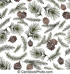 Christmas tree branches,cone seamless pattern - Christmas...