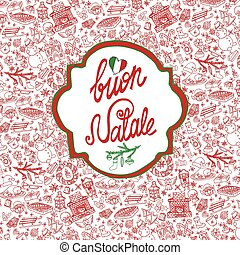 Christmas,Natale card.Pattern background,label -...