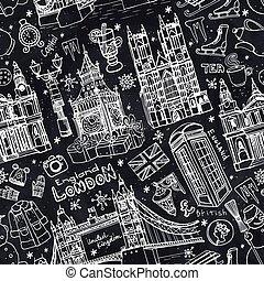 London winter landmarks seamless pattern - Winter...