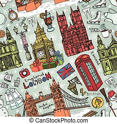 London winter landmarks seamless pattern.Colored Doodles -...