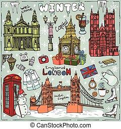 London winter landmarks setColored Doodle sketchy - Winter...