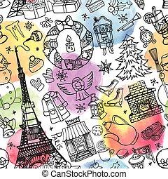 Paris winter,Christmas seamless pattern