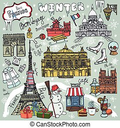 Paris winter,Doodle landmarks,symbolsColored map - Paris...