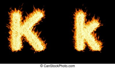 Loopable burning K character, capital and small