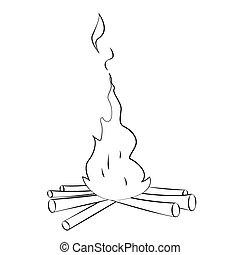 Bonfire - Black outline vector Bonfire on white background.