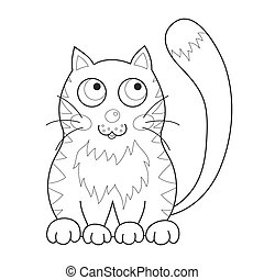 Cartoon smiling gentle kitty with stripes sit, coloring book page for children