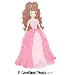 Magnificent princess in gentle pink dress with spangles -...