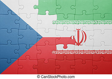puzzle with the national flag of czech republic and iran