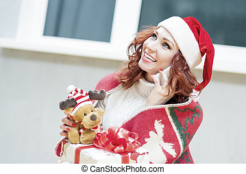 Positively Looking Expressive Red-Haired Caucasian Santa...