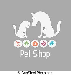 Cat and dog sign for pet shop logo and what they needs for pet salon