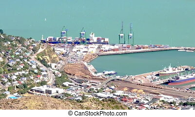 Lyttelton inner Harbour port - Aerial view of Lyttelton Port...