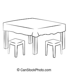 Dining table - Black outline vector Dining table on white...