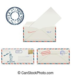 Set of envelopes from New York with a painted Statue of Liberty and postmark.