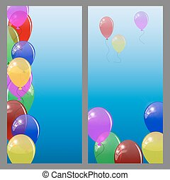 Set of banners or cards with  colored balloons.