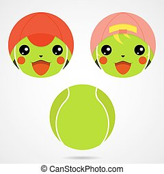 Character tennis ball. Cute laughing boy and a girl. -...