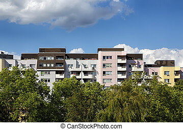 public housing with trees in berlin kreuzberg