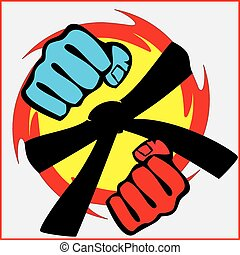 Black belt power fist mma, karate
