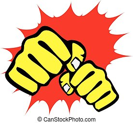 power fist mma, karate, boxing logo - Black belt power fist...