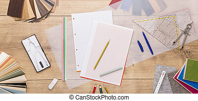 still life with designer tools, color and material patterns