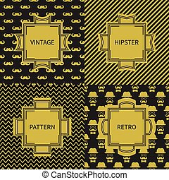 Set of gold hipster fashion geometric seamless pattern with...