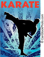 martial art karate high kick poster