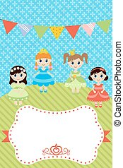 Birthday card with little girls - Greeting card with little...