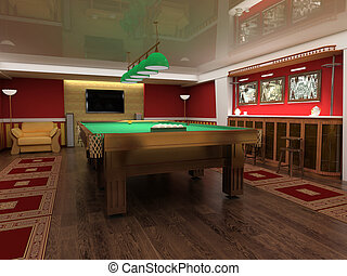billiard table in red room 3d image