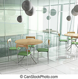 dining table in cafe - dining table in modern cafe 3d image