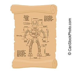 Drawing Robot Ancient scroll Retro scheme of Technological...