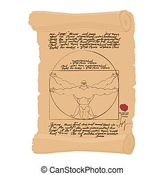 Vitruvian man of Leonardo Da Vinci humorous illustration....