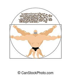 Vitruvian strong man bodybuilder. Illustration of Leonardo...