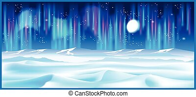 northern landscape at night - Stylized vector illustration...