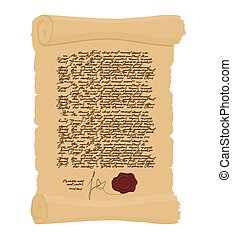 Ancient Royal Decree with print Secret Old yellow scroll...