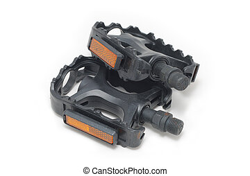 Bicycle pedals - Black bicycle pedals isolated over white...