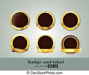 Vector Badges and  label of Gold Seal Set