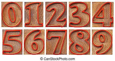 numbers in outlined letterpress type