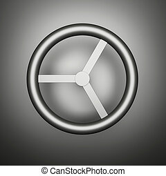 Computer generated image of a metal rotary handle.
