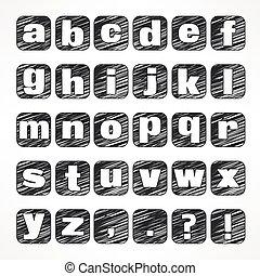 Alphabet icons on white