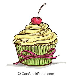 Ice cream sundae cupcake with cherry, excellent vector...